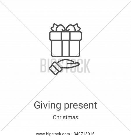 giving present icon isolated on white background from christmas collection. giving present icon tren