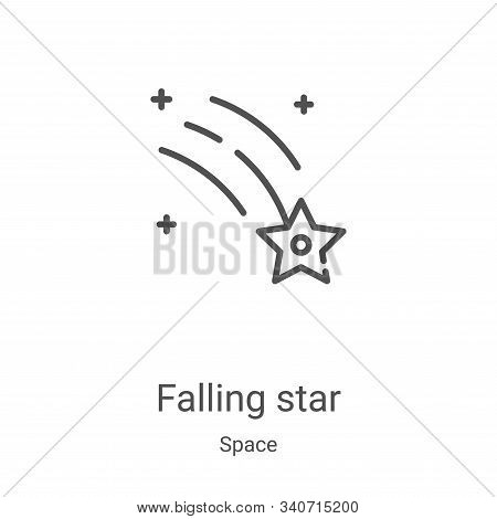 falling star icon isolated on white background from space collection. falling star icon trendy and m