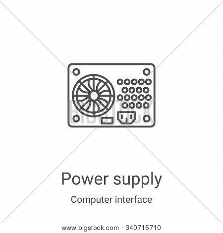 power supply icon isolated on white background from computer interface collection. power supply icon