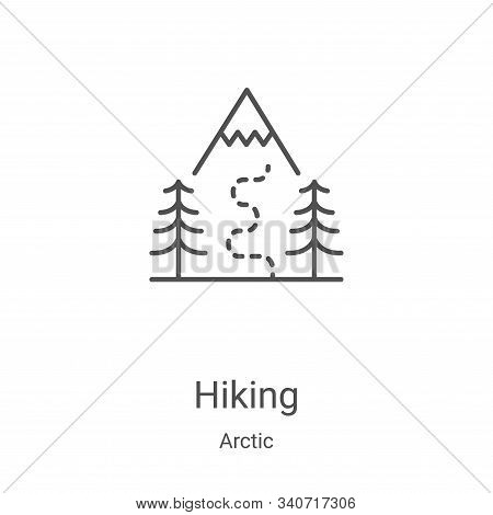 hiking icon isolated on white background from arctic collection. hiking icon trendy and modern hikin