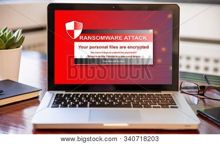 Ransomware Attack Concept. Ransomware Text On A Laptop Screen