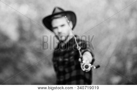 Hook And Bait. Fishing Day. Proper Fishhook. Fishing Hobby. Guy In Cowboy Hat Fishing Equipment Natu