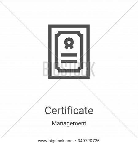 certificate icon isolated on white background from management collection. certificate icon trendy an