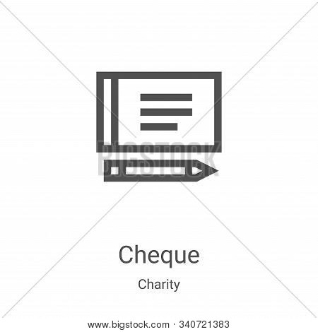 cheque icon isolated on white background from charity collection. cheque icon trendy and modern cheq