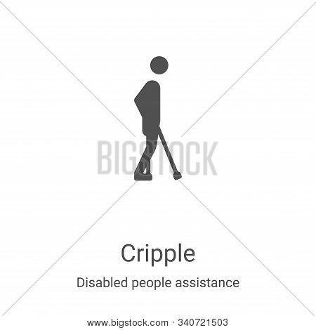 cripple icon isolated on white background from disabled people assistance collection. cripple icon t