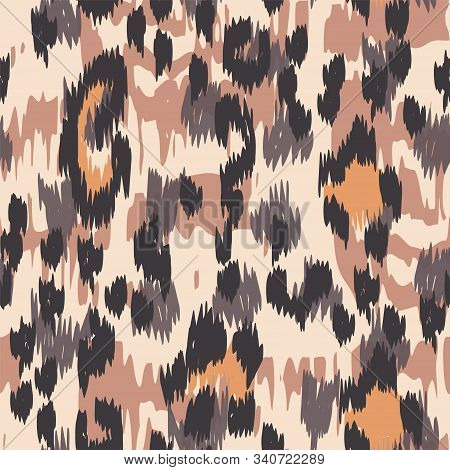 Black Panther Dyed Vector Seamless Pattern. Sepia Drawing Cheetah Handmade Tile Art Designs. Ebony H