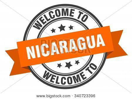 Nicaragua Stamp. Welcome To Nicaragua Orange Sign