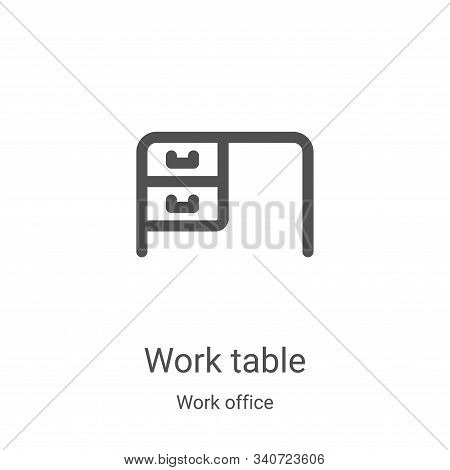 work table icon isolated on white background from work office collection. work table icon trendy and