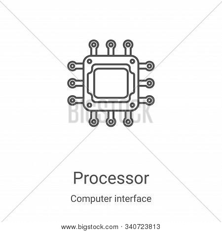 processor icon isolated on white background from computer interface collection. processor icon trend