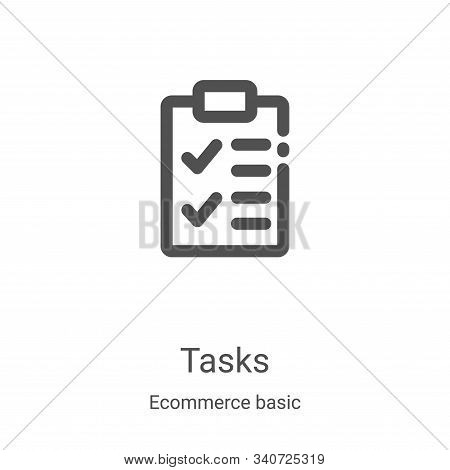 tasks icon isolated on white background from ecommerce basic collection. tasks icon trendy and moder