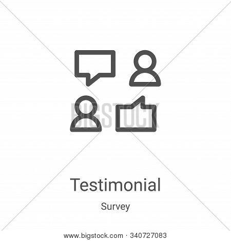 testimonial icon isolated on white background from survey collection. testimonial icon trendy and mo