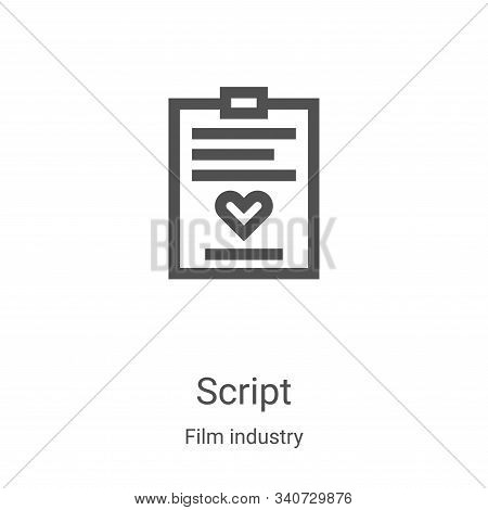 script icon isolated on white background from film industry collection. script icon trendy and moder