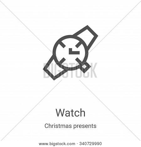 watch icon isolated on white background from christmas presents collection. watch icon trendy and mo