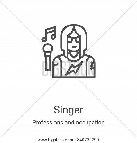 singer icon isolated on white background from professions and occupation collection. singer icon tre