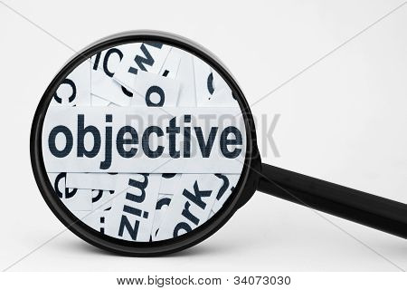 Close up of magnifying glass on Objective poster