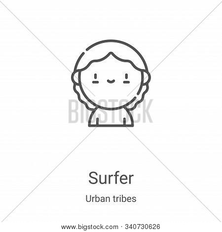 surfer icon isolated on white background from urban tribes collection. surfer icon trendy and modern