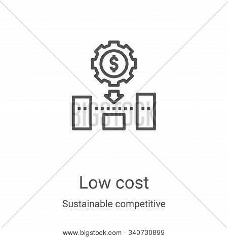 low cost icon isolated on white background from sustainable competitive advantage collection. low co