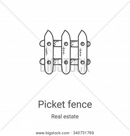picket fence icon isolated on white background from real estate collection. picket fence icon trendy