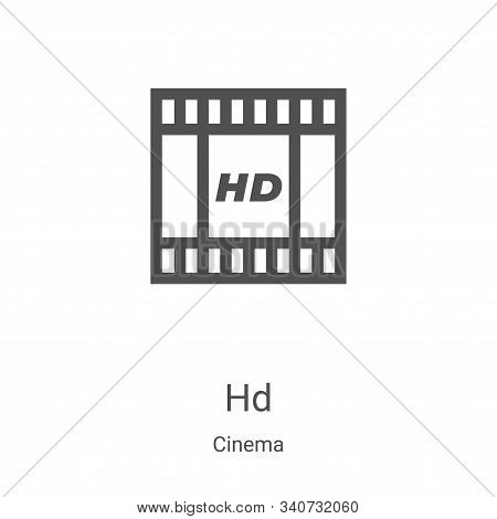 hd icon isolated on white background from cinema collection. hd icon trendy and modern hd symbol for