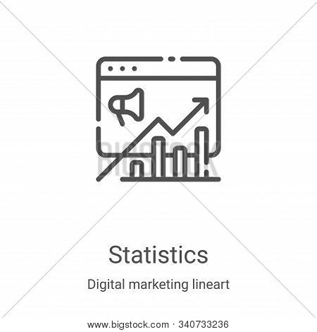 statistics icon isolated on white background from digital marketing lineart collection. statistics i