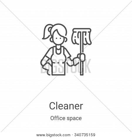 cleaner icon isolated on white background from office space collection. cleaner icon trendy and mode