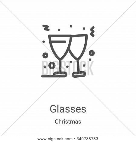 glasses icon isolated on white background from christmas collection. glasses icon trendy and modern