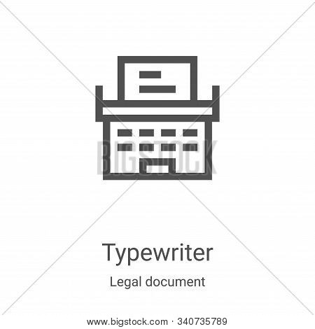 typewriter icon isolated on white background from legal document collection. typewriter icon trendy