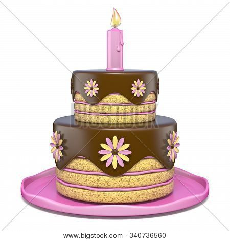 Two Tier Round Chocolate Flowers Cake 3d Render Illustration Isolated On White Background
