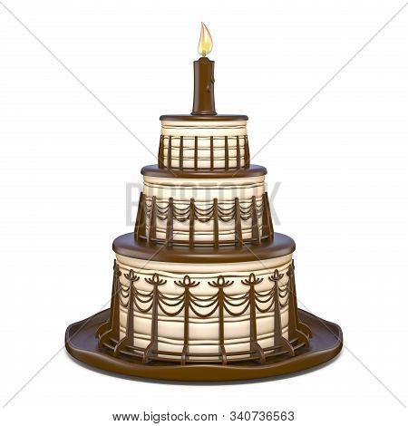 Three Tier Round Chocolate Vanilla Cake 3d Render Illustration Isolated On White Background