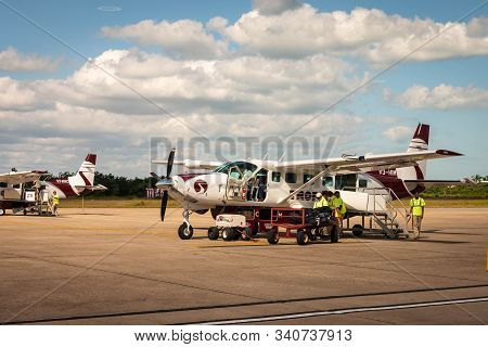 Belize City, Belize - November, 18, 2019. Domestic Tropic Air Airline Getting Ready For Passengers A