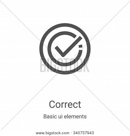 correct icon isolated on white background from basic ui elements collection. correct icon trendy and