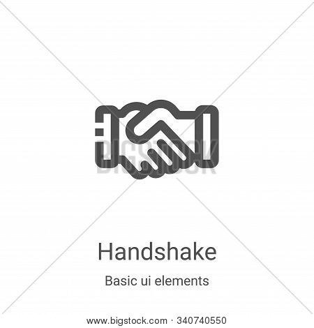 Handshake Icon Vector From Basic Ui Elements Collection. Thin Line Handshake Outline Icon Vector Ill