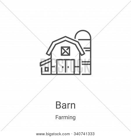 Barn Icon Vector From Farming Collection. Thin Line Barn Outline Icon Vector Illustration. Linear Sy