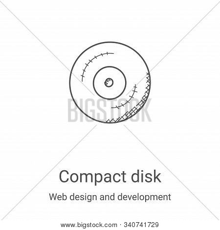 Compact Disk Icon Vector From Web Design And Development Collection. Thin Line Compact Disk Outline