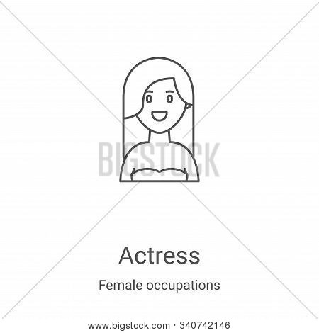 Actress Icon Vector From Female Occupations Collection. Thin Line Actress Outline Icon Vector Illust