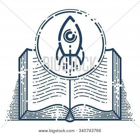 Open Book With Launching Rocket Vector Linear Icon, Missile Start Up From Text, Space Scientific Lit