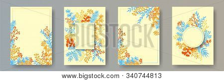 Wild Herb Twigs, Tree Branches, Leaves Floral Invitation Cards Set. Herbal Frames Rustic Invitation