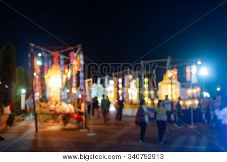 Blurred Lights With People In Loi Krathong Festival At Phayao Thailand