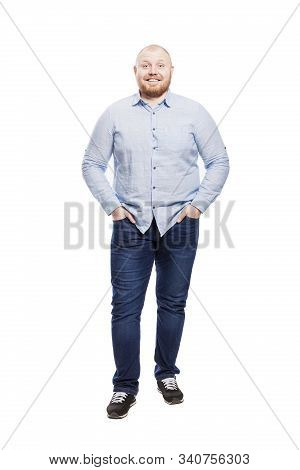 Smiling Fat Redhead Man With A Full Length Beard. Isolated Over White Background. Vertical.