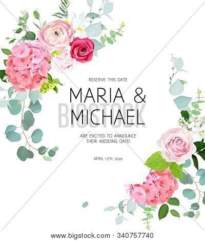 Pink Hydrangea, Red Magenta Rose, Coral Ranunculus, Peony, Iris, White Lilac, Eucalyptus And Greener