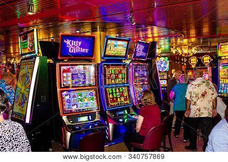 Half Moon Cay Island, Bahamas - December 4, 2019: Casino Interior, Gaming Slot Machines, American Ga