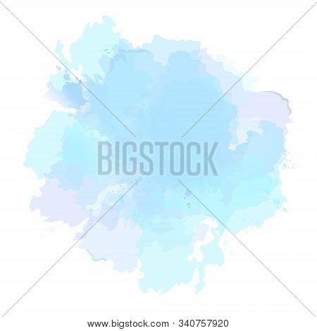 Blue, Violet, Cyan, Mauve Purple Watercolor Vector Splash. Background Hand-drawn Texture. Painted Sp