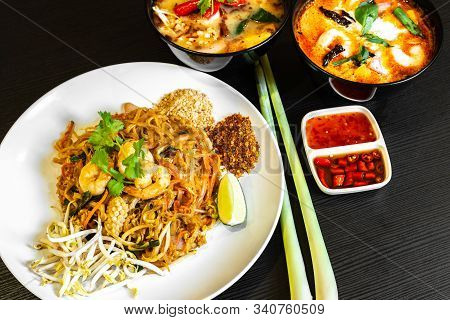 Pad Thai, Or Phad Thai, Is A Stir-fried Rice Noodle Traditional Dish Served As A Street Food In Thai