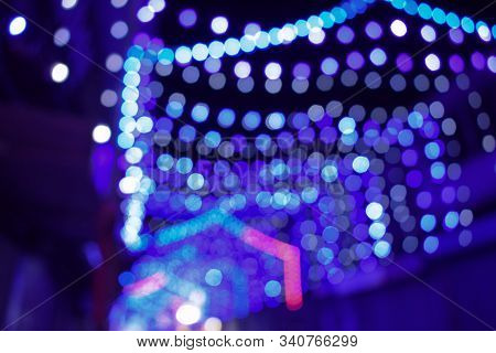 Abstract Background Of String Lights, Blue String Lights, Christmas-lighting, Decoration Lighting, O