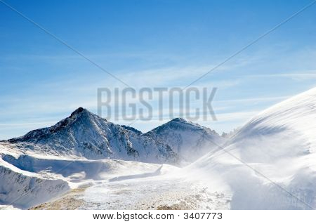 Mountain Range In Winter