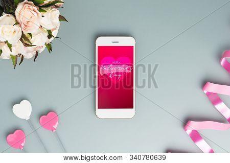 Mockup Mobile Smart Phone For Valentine's Day Banner Background Concept. Mock Up Template For Valent