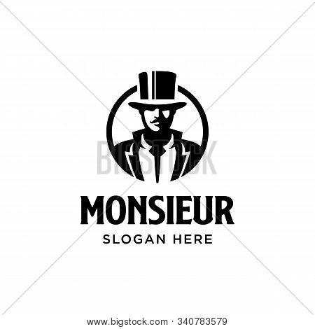 Monsieur logo. Gentleman figure with mustache. Vintage classic retro. Branding for whisky, fashion, barber, beautique, salon, antique stuff, etc. Isolated logo vector inspiration. Graphic designs