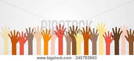 Group Of Raised Up Colorful Hands Different Skin Color Tone Of Many People, Teamwork, Diversity Peop