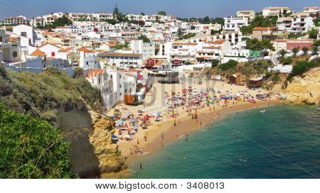 Beach Of Carvoeiro Village.