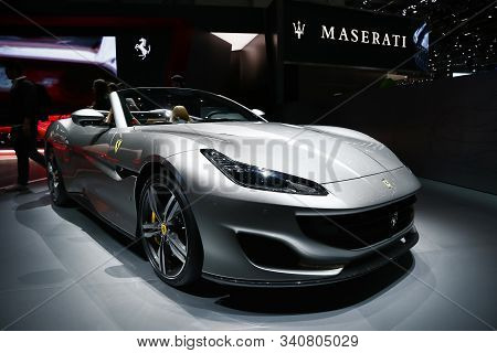 Geneva, Switzerland - March 10, 2019: Grey Convertible Sports Car Ferrari Portofino Presented At The